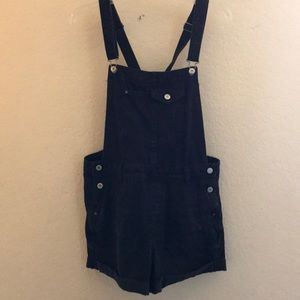 Black Distressed  Bershka Overall Shorts